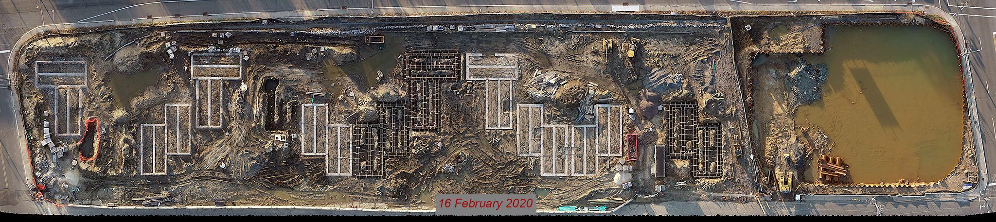 construction progress aerial drone photos